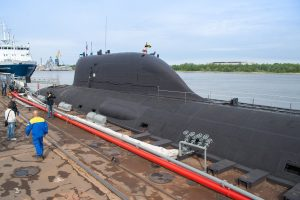 Multirole Yasen K-560 Severodvinsk submarine by the pier of the Sevmash shipyard in Severodvinsk